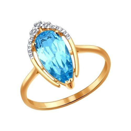 Кольцо из золота с топазом и фианитами (714087) - фото