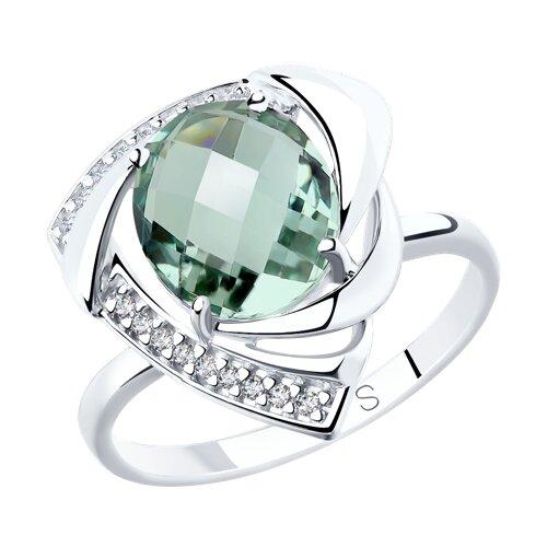 Кольцо из серебра с кварцем и фианитами (92011772) - фото