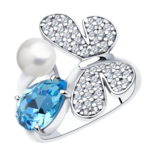 Кольцо SOKOLOV из серебра с жемчугом Swarovski, кристаллом Swarovski и фианитами серьга из серебра с жемчугом swarovski и синим кристаллом swarovski