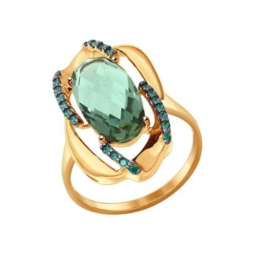 Кольцо из золота с кварцем и зелеными фианитами