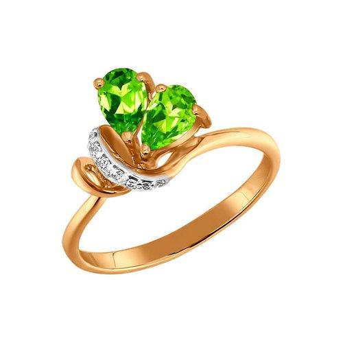Кольцо SOKOLOV из золота с фианитами и хризолитами изящное золотое кольцо с хризолитами sokolov