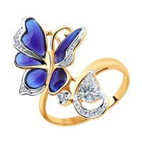 Кольцо из золота с бриллиантами и бесцветным топазом