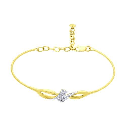 Браслет из желтого золота с фианитами (050925-2) - фото