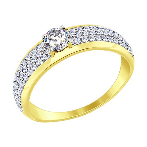 Кольцо из желтого золота с фианитами (017385-2) - фото