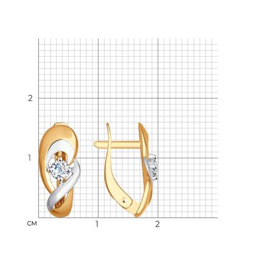 Серьги из золота с фианитами (027259) - фото №2