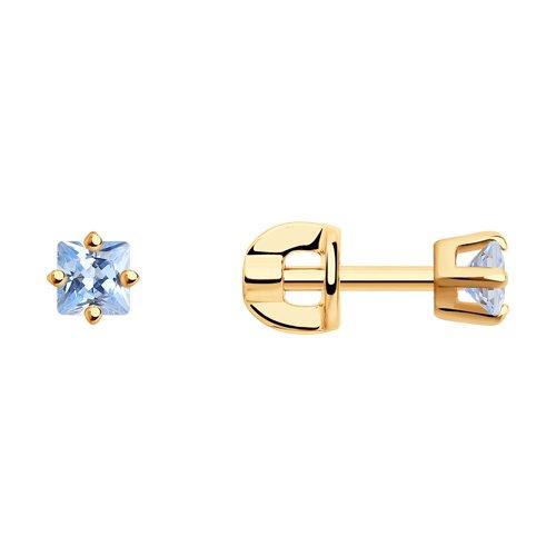 Серьги-пусеты из золочёного серебра с голубыми фианитами