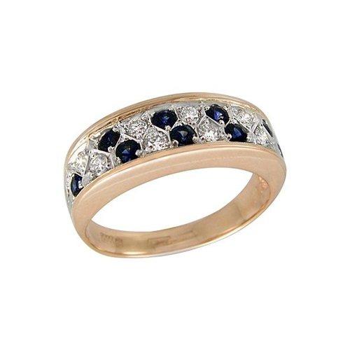 Фото - Кольцо SOKOLOV из комбинированного золота с бриллиантами и сапфирами кольцо с сапфирами и бриллиантами из розового золота valtera 82404