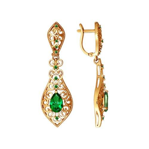 лучшая цена Женские длинные серьги SOKOLOV из золота с топазами swarovski