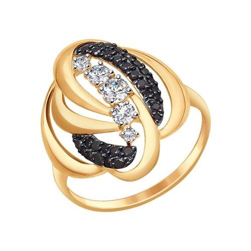 Кольцо из золота с бесцветными и чёрными фианитами (017329) - фото