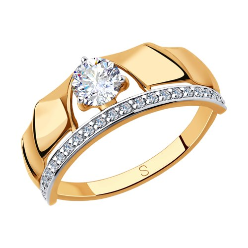 Кольцо из золота с фианитами (018302) - фото
