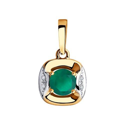 Подвеска из золота с бриллиантами и агатом (6033014) - фото