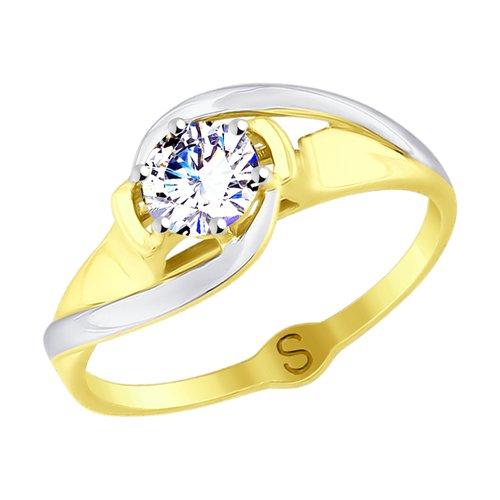 Кольцо из желтого золота с фианитом (017726-2) - фото