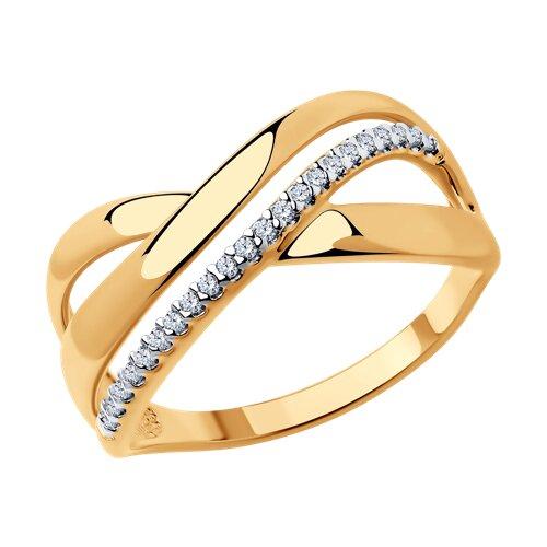 Кольцо из золочёного серебра с фианитами (93010580) - фото