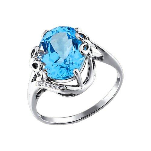 Кольцо SOKOLOV из белого золота с крупным голубым топазом ажурное кольцо с крупным голубым топазом sokolov