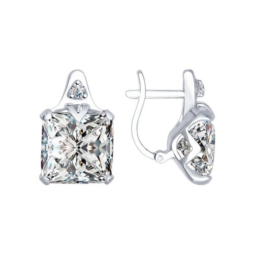 Серьги из серебра с фианитами (94022280) - фото