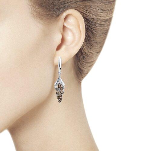 Серьги из серебра с раухтопазами и фианитами (92022079) - фото №2