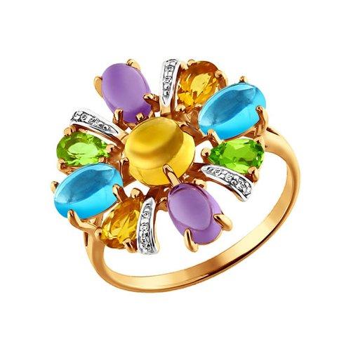 Золотое кольцо с миксом SOKOLOV из камней золотое кольцо ювелирное изделие k 11013