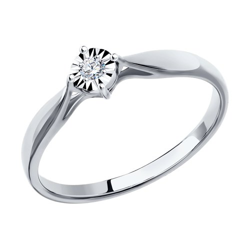 Помолвочное кольцо из белого золота с бриллиантом (1011493) - фото