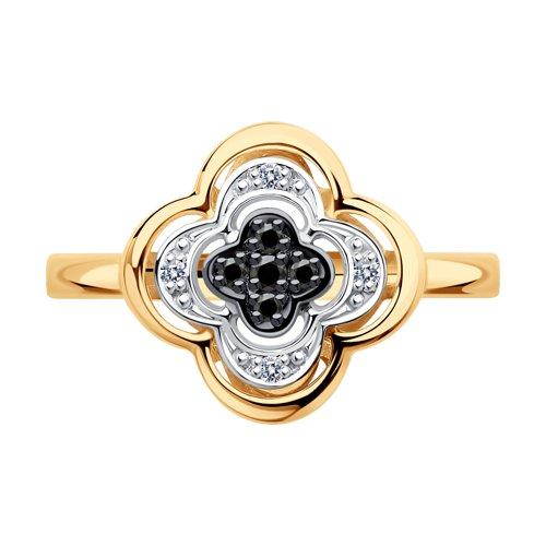 Кольцо из золота с бесцветными и чёрными бриллиантами (7010060) - фото №3