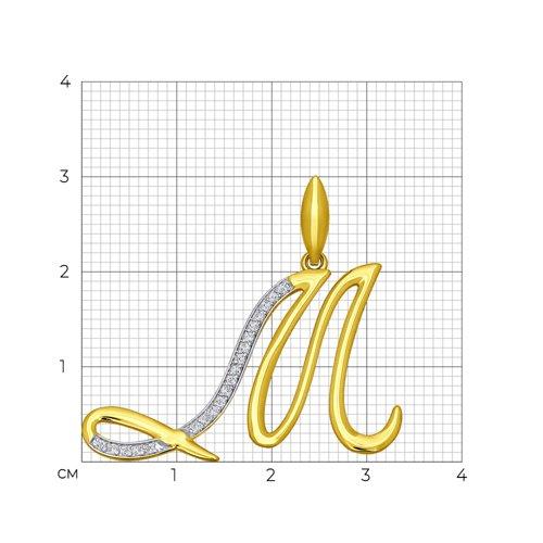 Подвеска буква М из желтого золота с фианитами 034707-2 SOKOLOV фото 2