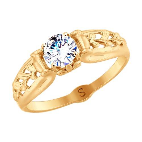 Кольцо из золота с фианитом (017952) - фото