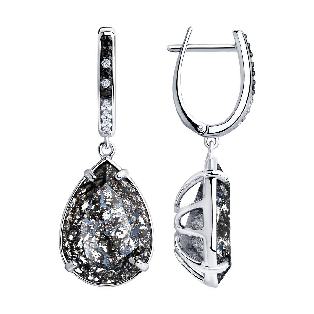 Серьги SOKOLOV из серебра с чёрными кристаллами Swarovski и фианитами серебряные серьги с чёрными кристаллами swarovski