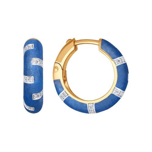 Синие серьги с эмалью и бриллиантами