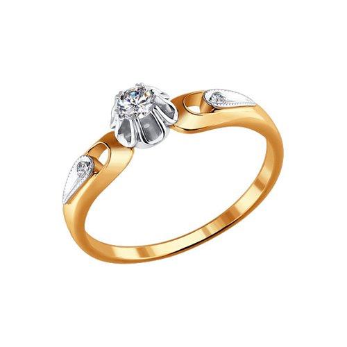Кольцо с бриллиантом из двух видов золота (1010040) - фото