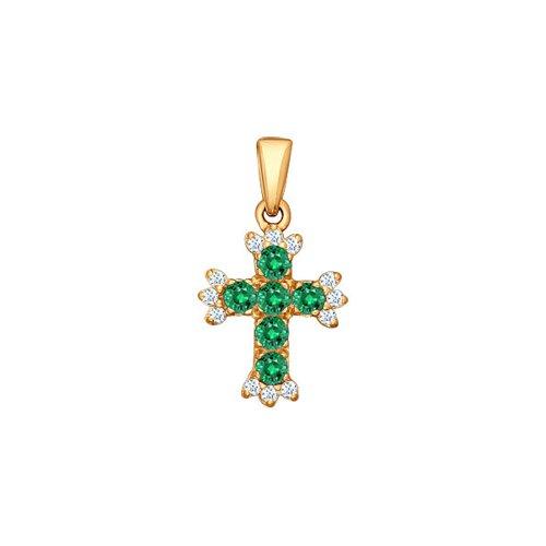 Крест из золота с бриллиантами и изумрудами