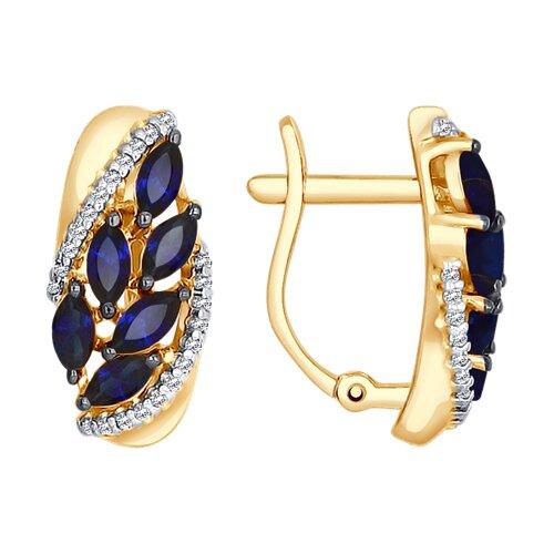 Серьги из золота с синими корундами (синт.) и фианитами