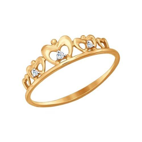 Кольцо из золота с фианитами (017148) - фото