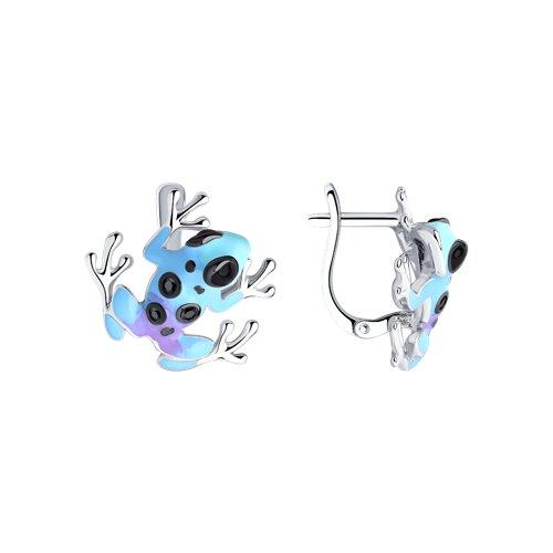 цена на Серебряные серьги «Лягушки» с эмалью и фианитами SOKOLOV