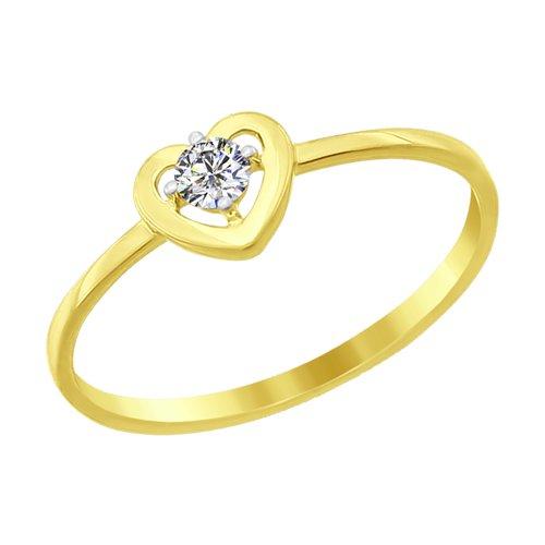 Кольцо из желтого золота с фианитом (016892-2) - фото