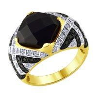 Кольцо из желтого золота с бриллиантами и керамикой