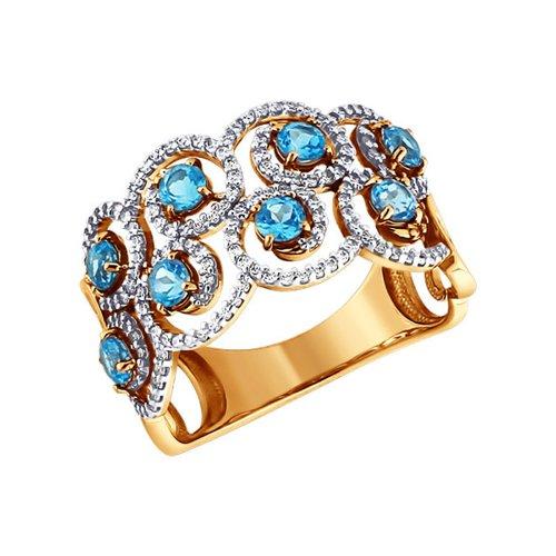 Золотое узорчатое кольцо с топазами и фианитами SOKOLOV золотое кольцо ювелирное изделие 01k673222
