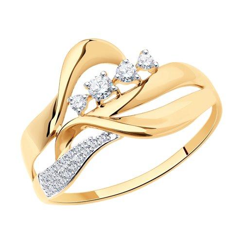 Кольцо из золота с фианитами (017510) - фото