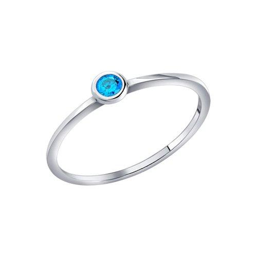 Тонкое серебряное кольцо с голубым фианитом SOKOLOV
