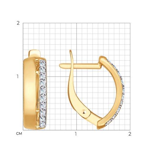Серьги из золота с фианитами (027186) - фото №2
