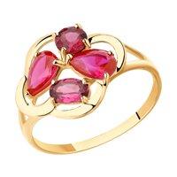 Кольцо из золота с родолитами и красными корундами