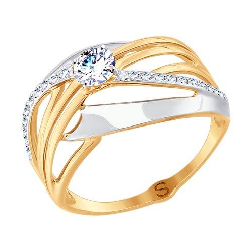 Кольцо из золота с фианитами (017702) - фото