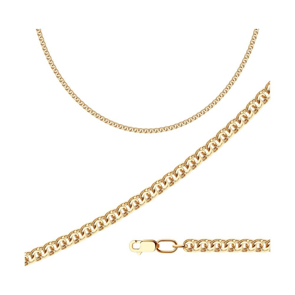 Цепь SOKOLOV из золочёного серебра с алмазной гранью обручальное кольцо sokolov из золочёного серебра с алмазной гранью