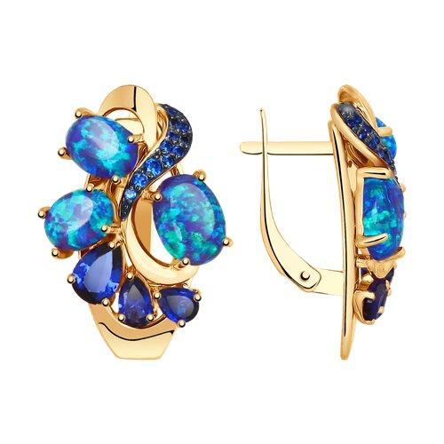 Серьги из золота с синими корунд (синт.), синими опалами и синими фианитами