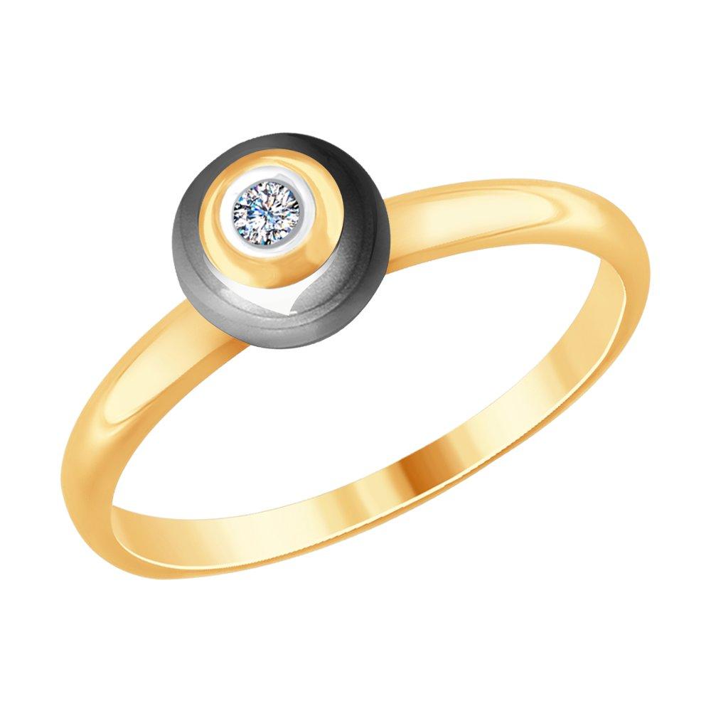 Кольцо SOKOLOV из золота с бриллиантом и керамикой