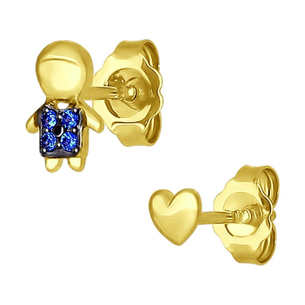 Асимметричные серьги SOKOLOV из желтого золота