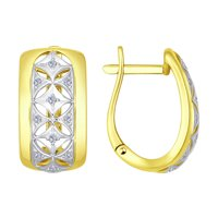 Серьги из желтого золота с бриллиантами