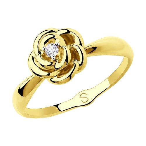 Кольцо из желтого золота (018220-2) - фото