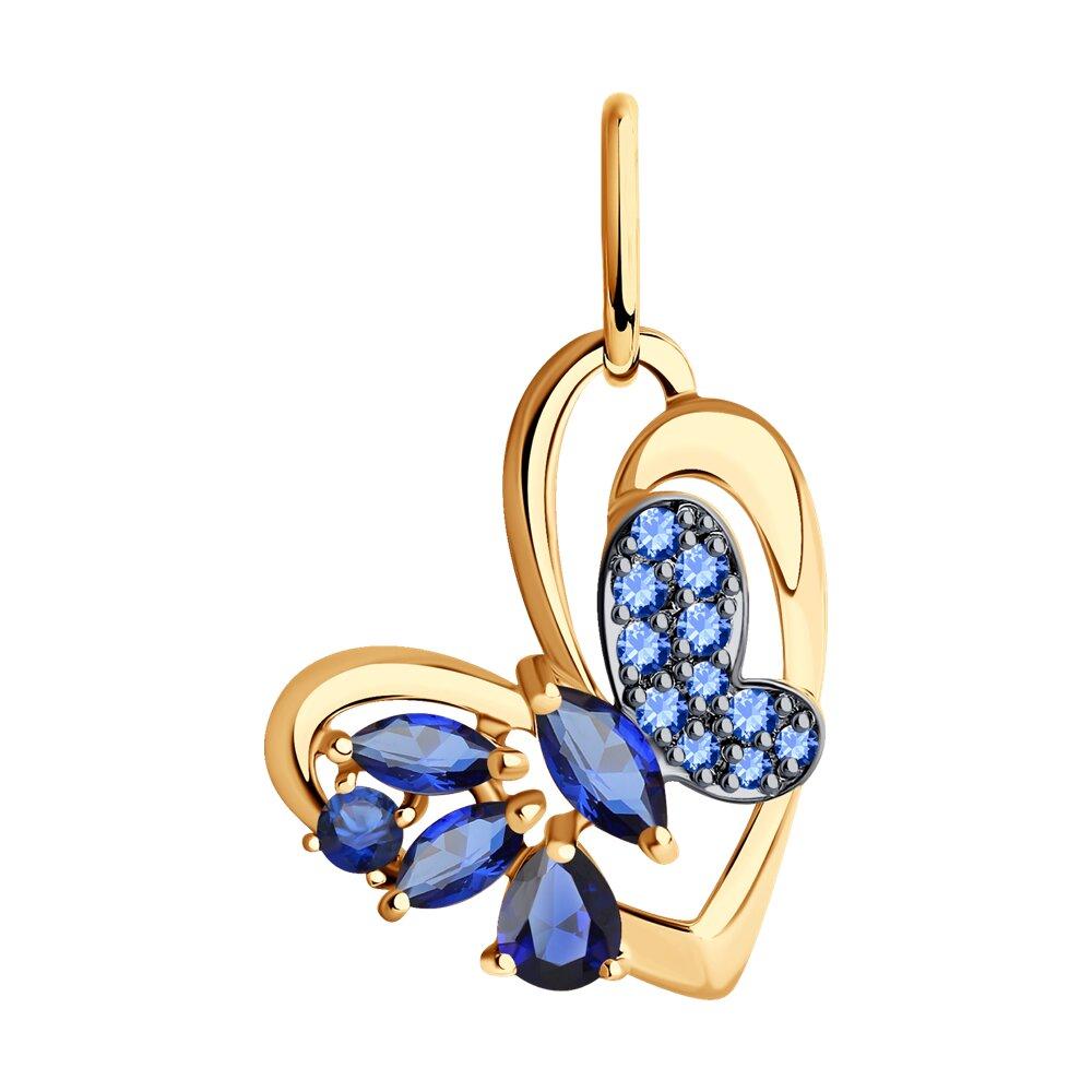 Подвеска «Бабочка» SOKOLOV из золота с корундами сапфировыми и синими фианитами