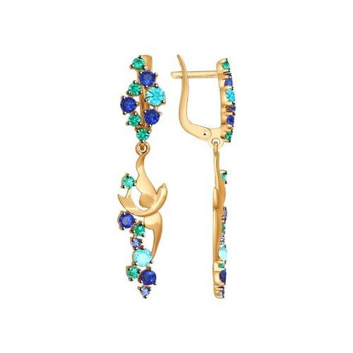 Серьги длинные из золота с зелеными и синими фианитами