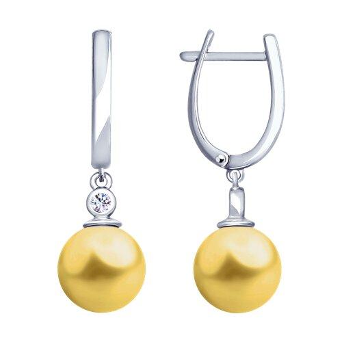 Серьги из серебра с жемчугом Swarovski и фианитами (94023018) - фото