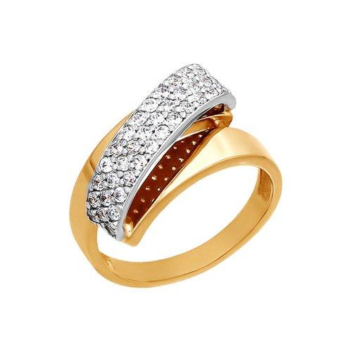 Кольцо из комбинированного золота с фианитами (014075) - фото